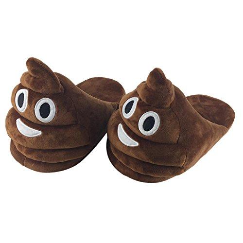 Ularma Emoji Peluche Pantofola Per Ragazzi e Ragazze Creative Pantofole Scarpe Da Casa Inverno (Marrone)