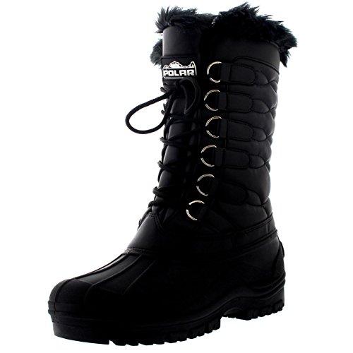 Polar Donna Nylon Impermeabile Tempo All'Aperto La Neve Anatra Inverno Pioggia Bracciale Pelliccia Lace Stivali - Nero - UK6/EU39 - YC0332