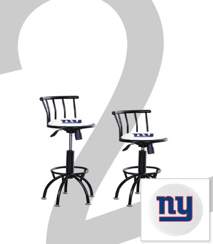 """2 New New York Giants Themed Adjustable Height 24""""-29"""" Black Metal Finish Swivel Seat Bar Stools! front-1047214"""