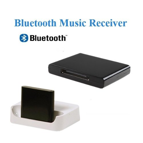 Agptek® Black A2Dp Bluetooth Audio Music Receiver Transmitter For 30 Pin Bose Sound Dock / Beat Box / Phillips / Jbl And Other Dock Stations (Incompatible With 1St Generation Bose Sound Docks And Car Speakers)