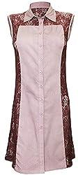 Attuendo Women's Lace Panel Button Down Long Sleeveless Shirt (X-Large)