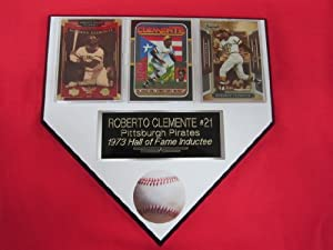 Roberto Clemente Pittsburgh Pirates 3 Card Collector HOME PLATE Plaque EXCLUSIVE... by J & C Baseball Clubhouse
