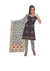 DARPAN TEXTILES Ethnicwear Women's Dress Material Blue_Free Size