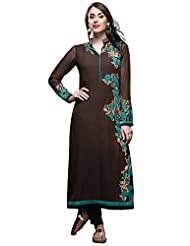 Brown Straight Suit Adorn In Resham And Zari Embroidery