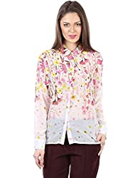 IRALZO White with floral Print Shirt