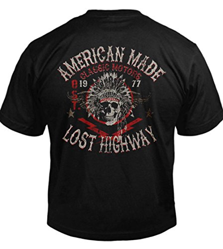 AMERICAN MADE LOST HIGHWAY BIKER T-SHIRT S Black Men's Tee (6.1oz)