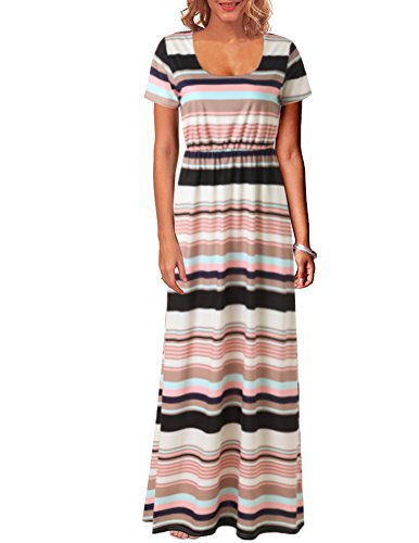 Kranda Summer Boho Striped Empire Waist Maxi Dress