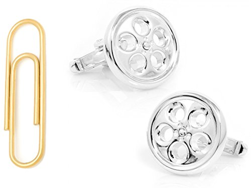 Sterling Spinner Wheel Cufflinks With Gold Stainless Steel Paper Clip Money Clip