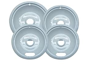 Range Kleen P10124XWZ Porcelain Universal Drip Pans Set Of 4 Containing 3 Units P101W,1 Unit P102W, White