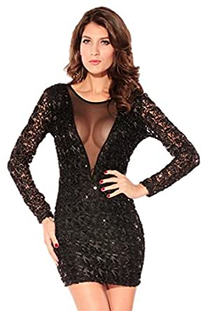 Black Sequin Bodycon Party Dress vestido de festa | Amazon.com