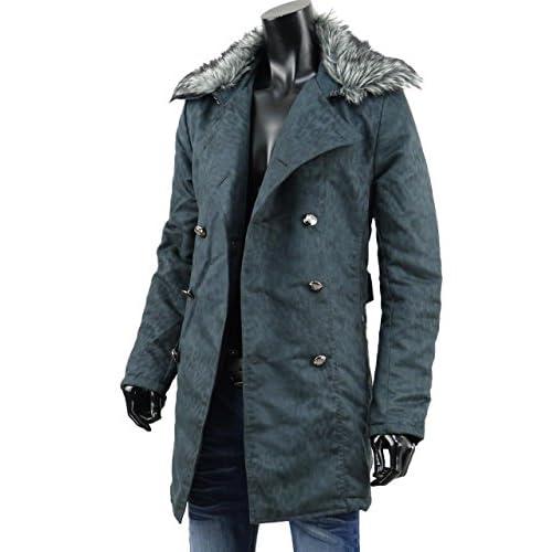 トレンチコート メンズ ロング コート セミロング 豹柄 レオパード ファー 腰ベルト ゴシック BJ-1112-33 ブラック L