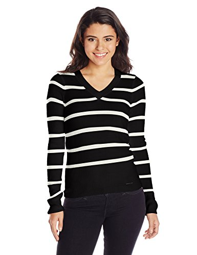U.S. Polo Assn. Juniors Striped V-Neck Gift Box Cashmiracle Sweater, Black Combo, Medium