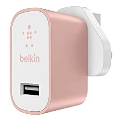 Belkin Premium Ultra-Fast 2.4 A USB Mains Charger - Rose Gold