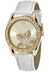 FMD Gold Tone Crystal Accented Leather Womens Watch FMDCT260