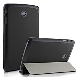 Infiland LG G Pad F 8.0 Shell case, Tri-Fold Ultra Slim Stand Frost Back Case cover for 8 inch LG G PAD F 8.0 V495/ V496 Tablet Only -Black