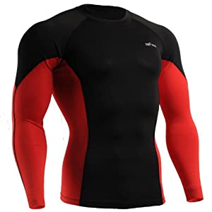 emFraa Men Women Skin Tight Base layer T Shirt Running Top Black-Red Long sleeve S