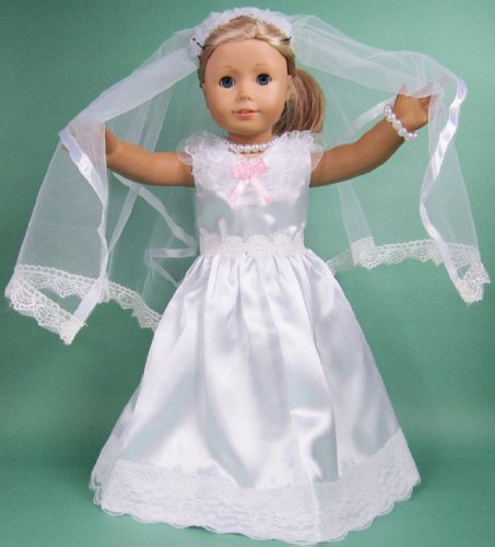 "Shotita Bride Outfit communion Dress for 18"" American Girl Dolls 18 Inch Doll Clothes clothing"