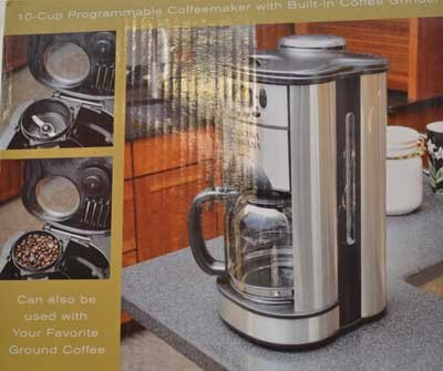 Cucina Romana 10-Cup Programable Coffeemaker with Built-In Coffee Grinder Black Coffee Maker