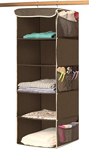 SimpleHouseware 5 Shelves Hanging Closet Organizer, Bronze