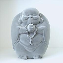 Philovesophy Big Buddha 9-Inch H Abundance Gray Velvet Figurine