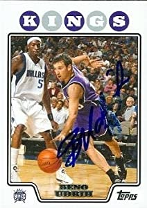 Beno Udrih Autographed Hand Signed Basketball card (Sacramento Kings) 2008 Topps #135 by Hall of Fame Memorabilia