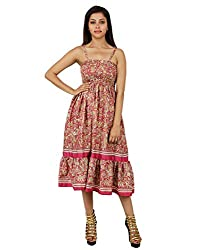 Traditional Polyester Damask Dress Pink Printed Medium For Girl's By Rajrang