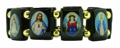 Saints Bracelet - Black Wood - Large Squares - Gold Color Beads Spacers - Made in Brazil