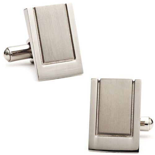 Ox And Bull Mens Stainless Steel Engravable Wedge Cufflinks