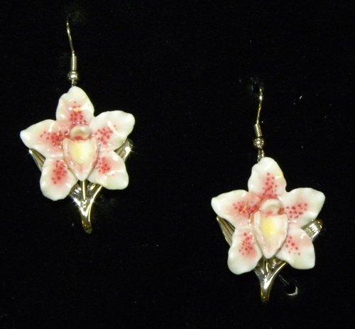 Franz Porcelain Orchid flower Rhodium plated brass & porcelain earrings