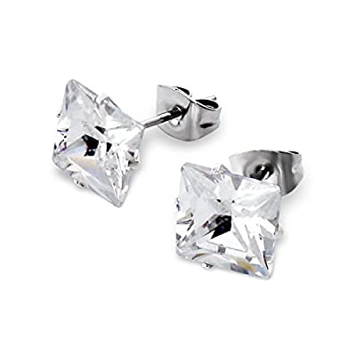 Pair of Mens, Womens, Unisex Square Diamante Diamond Stud Earrings - 8mm x 8mm