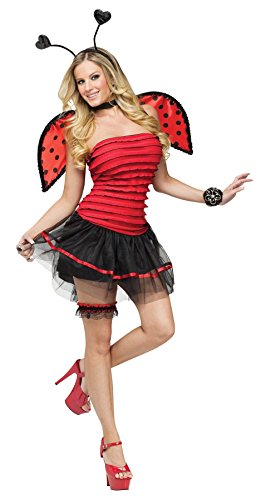 GTH Women's Sexy Ladybug Insects Adults Theme Party Fancy Halloween Costume, M/L (10-14) (Sexy Disney Villains)