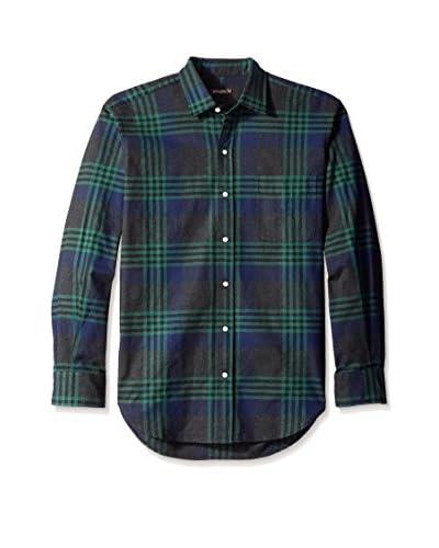 J. McLaughlin Men's Plaid Gramercy Spread Collar Regular Fit Shirt