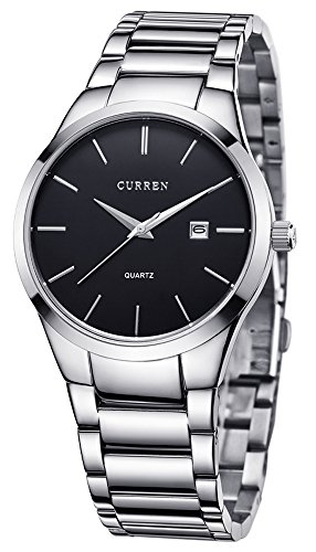 Voeons Men's Watches Quartz Auto Date Silver Stainless steel Strap Watch (Men Steel Watch compare prices)