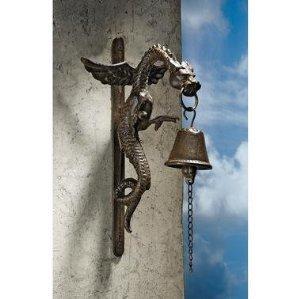 Medieval Dragon Snake Serpent Gothic Iron Doorbell Doorknocker - Set of 2