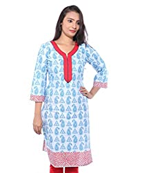 Lal Chhadi Women's 3/4 Sleeve Cotton Kurta with combination of Light Blue and Red color