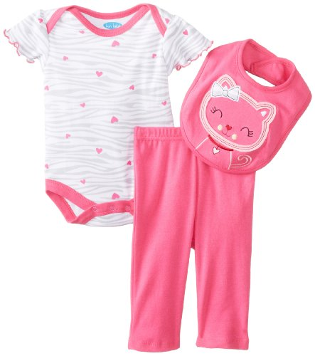 Bon Bebe Baby-Girls Newborn Hearts And Kitty Bib Bodysuit With Legging Set, Multi, 6-9 Months front-953728