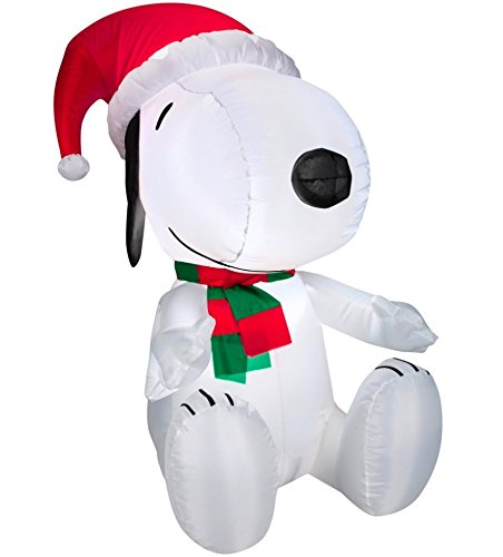 christmas decoration lawn yard inflatable airblown peanuts snoopy lying on doghouse 5 tall lights up self inflates in seconds includes everything needed