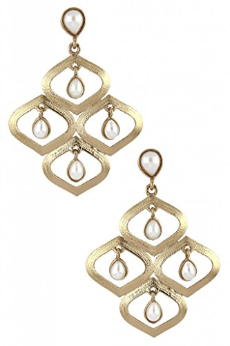 The Jewelbox Designer Antique Gold Plated Pearl Dangler Drop Earring