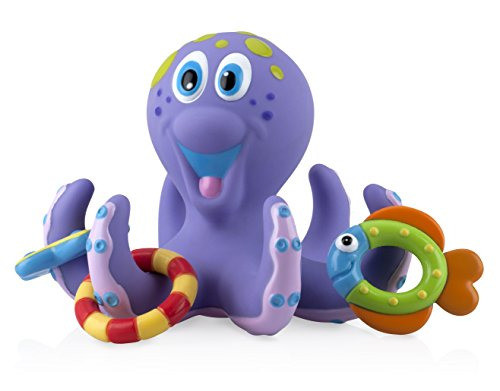 Nuby Bath Time Toss (Octopus Floating Bath Toy), Purple