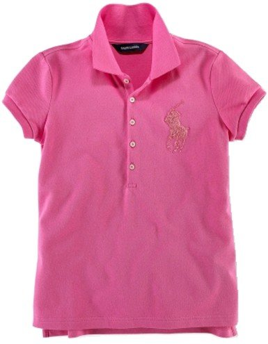 Ralph Lauren Childrenswear Girls Beaded Big Pony Stretch Polo Shirt (M(8/10), Maui Pink)