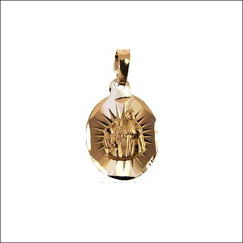 14k Yellow Gold, Communion Confirmation Religious Pendant Charm 13mm Wide