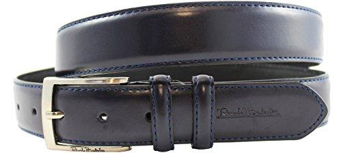 Cintura in pelle di Renato Balestra® nichel libera fibbia e con confezione regalo. Colore: Nero Blau 125