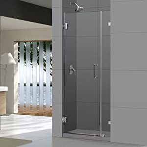 UnidoorLux Frameless Hinged 36-Inch Width by 72-Inch Height Clear 3/8-Inch Glass Door, Chrome Finish
