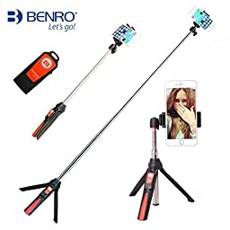Ulanzi Handheld & Tripod 3 in 1 Self-portrait Monopod Extendable Phone Selfie Stick with built-in Bluetooth Remote Shutter for iPhone 6s Plus Samsung Galary edge Huawei Xiaomi Gopro Hero 4 (Orange)