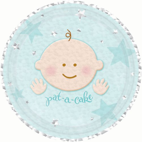 "Amscan Darling A Star Is Born Prismatic Dessert Party Plates, 7"", Blue"