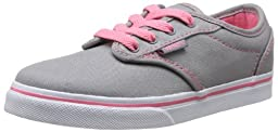 VANS ATWOOD LOW CANVAS GREY/PINK YOUTH GIRLS SHOES VN-0SEGATP (YOUTH GIRL\'S 5/WOMEN 6.5)