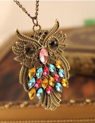 Retro Halskette mit Eule -Anhänger Bronze