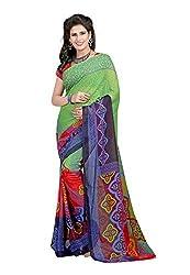 Bansy Fashion Multi Coloured Faux Georgette Printed Saree/Sari