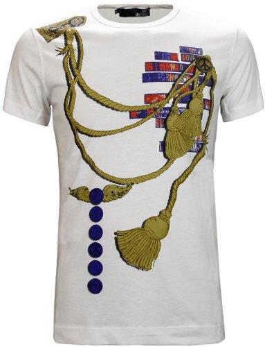 Moschino Men's Rope Print Crew Neck T-Shirt White (XL)