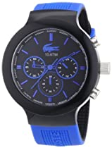 Lacoste Borneo Chronograph Black Dial Black and Blue Silicone Mens Watch 2010654